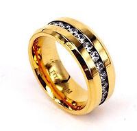 Mens 24k Gp Titanium Ring Created Diamonds 8mm-Eternity Engagement Wedding