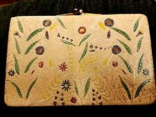 Vintage Purse Clutch Chain Handle Bag Divided Sections Cream Ecru w/flowers