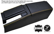 YELLOW STICH CENTRE CONSOLE & ARMREST LEATHER COVERS FOR HONDA CRX DEL SOL 92-98