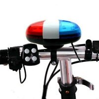 6 LED 4 Sounds Horn Bell Ring Police Car Light Trumpet For Bike Bicycle