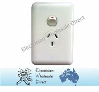 Vertical Wafer Single Power Point Outlet Switch GPO White Slimline Electrical
