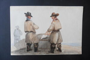 ENGLISH SCHOOL 1839 - FISHERMEN ON THE BEACH - SIGNED WATERCOLOR