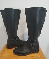 David Tate  Womens Knee High Boots Black Leather Stretchy Calf 9 M