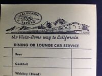 Rio Grande Railroad 3 California Zephyr Lounge Car Order Form Menu CB&Q WP