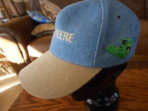 Blue Tan John Deere Combine Snapback Hat Cap Trucker Farm Farmer Country
