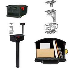 "Extra Large Big Metal Mailbox 22"" x 11"" Black Post Mount Mail Box Jumbo Huge"