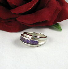 Sterling Silver Purple Princess Cut  Size 8  Ring  FERAL  CAT RESCUE