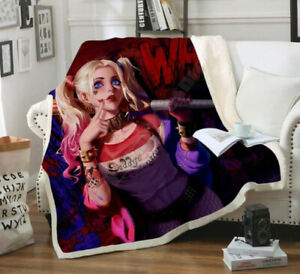 Harley Quinn 3D Print Sherpa Blanket Travel Couch Quilt Cover Throw Bedding