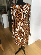 Tara Jarmon Long Sleeve Silky Shift Dress Burnt Orange & Cream Size 42 (12/14)
