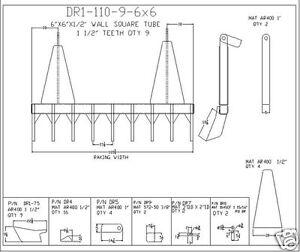 "dozer blade root rake, 110"" wide, 1450 lbs AR400 steel NEW, USA Attachments"