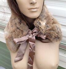 Marrone Naturale Beige Camel reale vera pelliccia di coniglio pelliccia collare sciarpa Fodera in satin