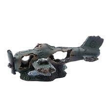 Saim Resin Sunken Crashed Plane Decorations Aquarium Ornament for Fish Tank