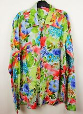 Mens Vtg 70s Style Disco Crazy Floral Psychedelic Shirt Festival Large to XL