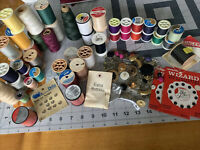 Huge Vintage Sewing Notions Lot #4 Tons Of Spools Thread Snaps Buttons Needles