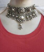 Goth Choker Collar Necklace Vintage Gypsy Boho Tribal Fashion Jewelry