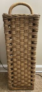 Vintage Tall Bamboo/Rattan Type Umbrella Basket w/ Handle