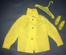 1971 Vtg Barbie #3407 Midi Mood Yellow Long Sleeve Blouse Shirt Shoes Hanger TAG