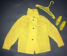 1971 Vtg Barbie #3407 Midi Mood Yellow Long Sleeve Blouse Shirt Shoes Hanger TAG