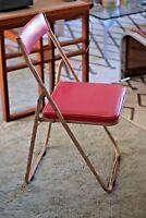 Industrial Vintage Mid Century Japanese Sankei Metal Folding Outdoor Chair Pink2