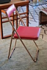 Industrial Vintage Mid Century Japanese Sankei Metal Folding Outdoor Chair Pink2