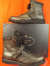 NIB PRADA DARK GRAY LEATHER COMBAT LACE UP LOGO ANKLE STRAP BOOTS 9.5 10.5