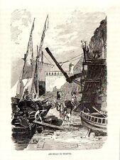 Stampa antica NAPOLI marinai al lavoro al molo 1876 Old print