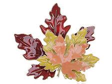 Hot Golden Tone Metal Red Yellow Orange Enamel Maple Leaf Fashion Pin Brooch