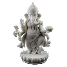 "GANESHA STATUE 7.5"" Standing Hindu Elephant God White Marble Finish Resin Ganesh"