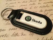 SKODA PRINTED BLACK LEATHER KEY RING FOB OCTAVIA FABIA SUPERB KODIAQ RAPID