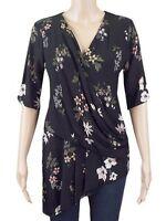 New Ex M&S Ladies Black Floral Drape Layer Asymmetric Party Top Size 6 - 22