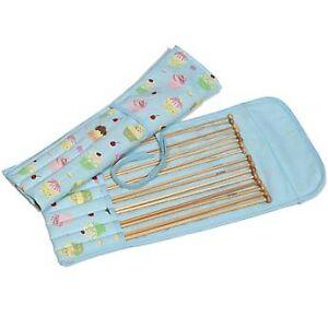 Bamboo Knitting Needles x 8 pairs in Cupcake Storage Case Sizes 3mm - 6mm