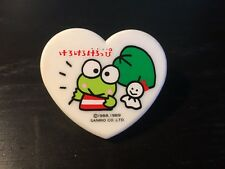 Authentic Keroppi Green Frog Sanrio 1989 White Heart Paper Clip Collect