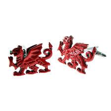 Red Welsh Dragon Cufflinks - Gift Boxed - Wales Cymru Cuff Links