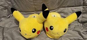 Pokemon Pikachu Plush Slip On Slippers Fluffy House Shoes size XL (Youth Size)