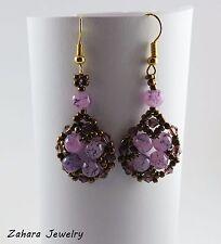 Bronze & Purple Glass Beads Earrings, Gold Hook HANDMADE Beaded Fashion Earrings
