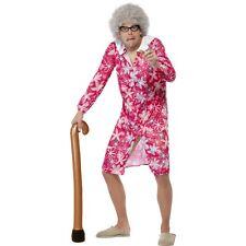 Women's Men's Granny Fancy Dress Kit Wig Glasses Blow Up Walking Stick Mrs Brown