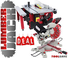 "Lumberjack 210mm Bench Top Table Saw & 8"" Sliding Compound Mitre Saw 240v"