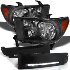 For 07-13 Tundra, Black Headlights + Bumper Convert To DRL LED