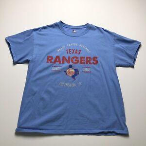 MLB Texas Rangers Baseball Spell Out Blue Short Sleeve Fan T Shirt Adult Large L