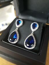 White gold finish pear cut sapphire & created diamond droplet earrings free post