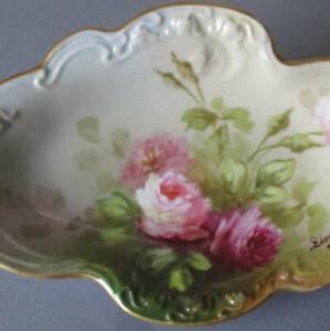 "Antique LIMOGES HP Porcelain 8"" Oval Dish Gorgeous PINK ROSES Gilt Trim * POUYAT"