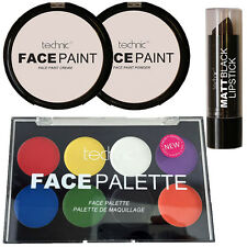 Technic Face Paint Cream, Powder, Matt Black Lipstick And Palette Goth MakeUP