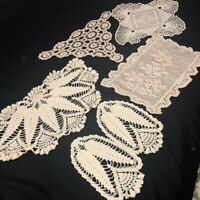Vintage Mid Century Hand Crocheted Furniture Doilies Lot of 6 Ivory Cottagecore