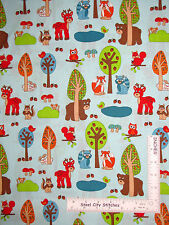 Woodland Animal Deer Bear Cotton Fabric RJR Woodland Park Aqua ~ By The Yard