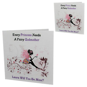 Handmade PERSONALISED Will You Be My Fairy GODMOTHER Request Card