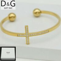 "DG Men's Stainless Steel Gold CZ 7"" Cross Cuff Bracelet Unisex + Box"
