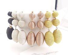 Designer inspired bon bon triple thread ball statement earrings