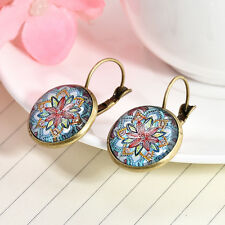 1 Pair Boho Mandala Flower Women Glass Round Flower Ear Stud Earrings Jewelry