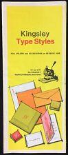 Kingsley Type Styles 8 Pane Advertisement Brochure May 1970