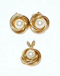 3Pc 14K Yellow Gold Mini Pendant & Matching Earrings w. Pearl Accent (KaT)#7
